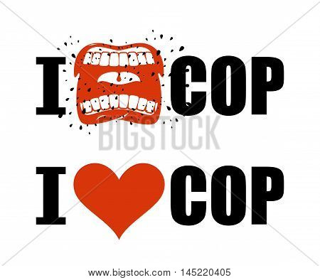 I Hate Cop. I Love Police. Shout Symbol Of Hatred And Antipathy. Open Mouth. Flying Saliva. Yells An