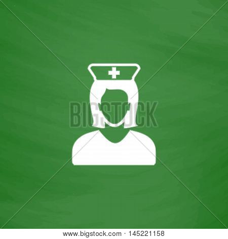 Nurse. Flat Icon. Imitation draw with white chalk on green chalkboard. Flat Pictogram and School board background. Vector illustration symbol
