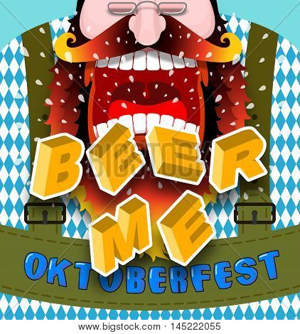 Beer Me Shout. Angry And Aggressive Man Shouts. Red Beard And Mustache. Bavarian Traditional Nationa