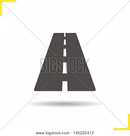 Road icon. Drop shadow highway silhouette symbol. Autobahn. Vector isolated illustration