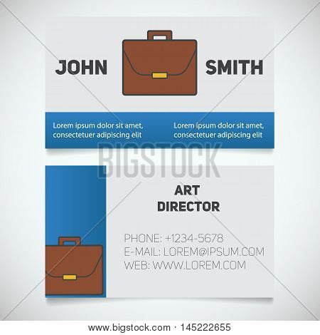 Business card print template with briefcase logo. Businessman. Lawyer. Advocate. Manager. Office worker. Stationery design concept. Vector illustration