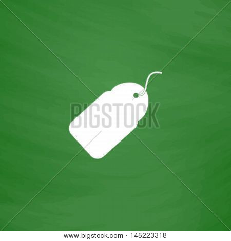 Tag. Flat Icon. Imitation draw with white chalk on green chalkboard. Flat Pictogram and School board background. Vector illustration symbol