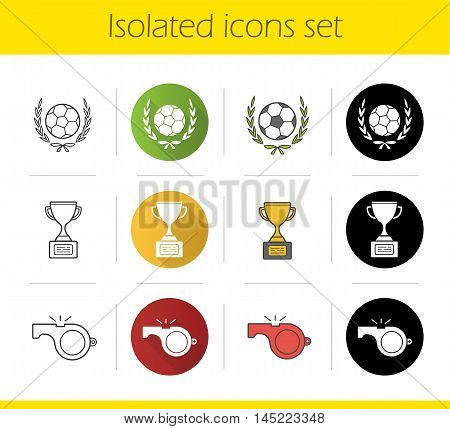 Soccer championship icons set. Flat design, linear, black and color styles. Football ball in laurel wreath, winner's gold trophy and referee's whistle. Isolated vector illustrations