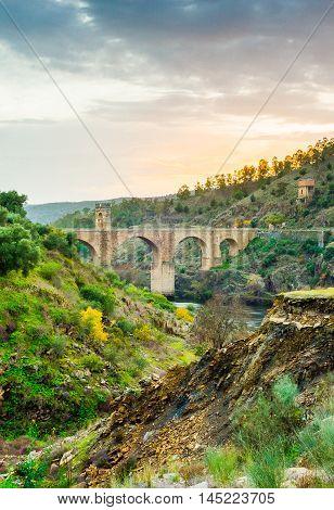 Roman bridge over the Tajo river in Alcantara Caceres provinceExtremadura Spain