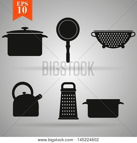 Kitchenware black icons set on gray background. vector illustration.