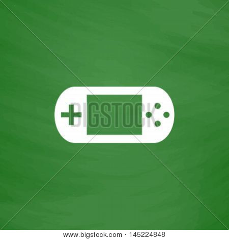 Handheld game console. Flat Icon. Imitation draw with white chalk on green chalkboard. Flat Pictogram and School board background. Vector illustration symbol
