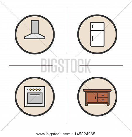 Kitchen interior color icons set. Extractor hood, fridge, stove, kitchen counter. Vector isolated illustrations