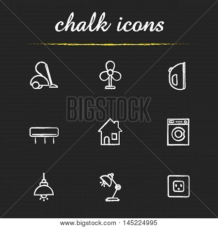 Household appliances icons set. Vacuum cleaner, ventilator, iron, air conditioner, house, washing machine, ceiling and table lamp and power rosette illustrations. Isolated vector chalkboard drawings