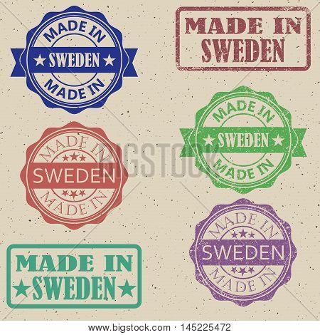 Made in Sweden set of stamps vector illustration.