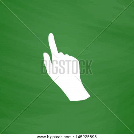 Cursor hand. Flat Icon. Imitation draw with white chalk on green chalkboard. Flat Pictogram and School board background. Vector illustration symbol