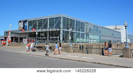 MONTREAL QUEBEC CANADA AUGUST 30 2016: Montreal Science Centre is a science museum in Montreal, Quebec, Canada. It is located on the King Edward Pier in the Old Port of Montreal.