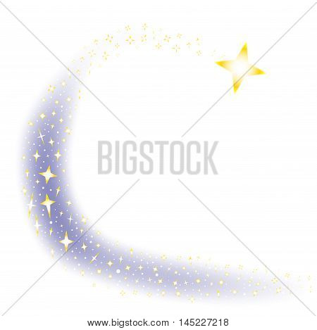 A shooting star surrounded by several star clusters over a white background