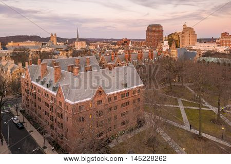 Historical Building And Yale University Campus
