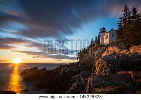Bass Harbor Lighthouse At Sunset