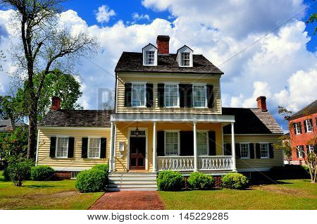 New Bern North Carolina - April 23 2016: Federal style 1795 Cutting-Allen House in the historic district *