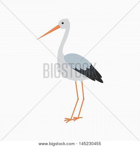 Stork stand lovely bird crane cartoon animal vector