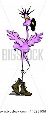 Punk Pink Flamingo with Army Boots and Liberty Spiked Hair