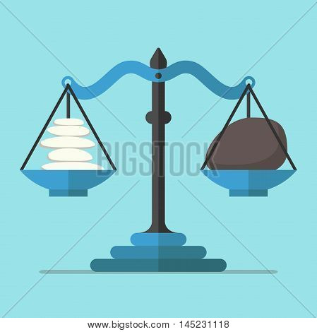 Scales weighing small light and big dark stones on blue background. Balance harmony and equilibrium concept. Flat design. Vector illustration. EPS 8 no transparency