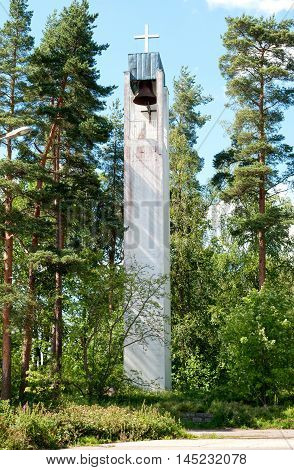 Bell tower of The Imatrankoski Evangelical Lutheran Church. Imatra. Finland