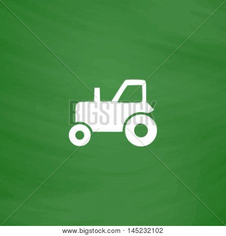 Tractor. Flat Icon. Imitation draw with white chalk on green chalkboard. Flat Pictogram and School board background. Vector illustration symbol