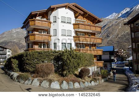 SWITZERLAND, SAAS-FEE, DECEMBER, 26, 2015 - Beautiful modern hotel in the charming Swiss resort of Saas-Fee, Switzerland