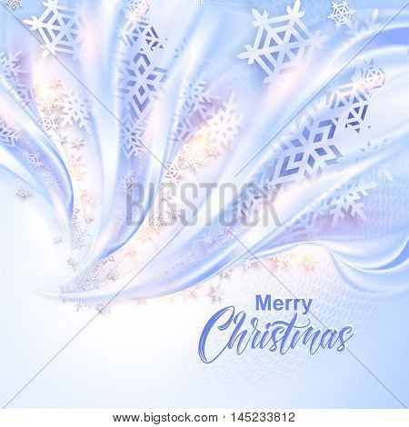 Beautiful abstract wave with snowflakes Christmas background. Vector illustration. New year greeting card