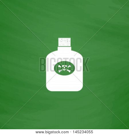 Bottle of poison. Flat Icon. Imitation draw with white chalk on green chalkboard. Flat Pictogram and School board background. Vector illustration symbol