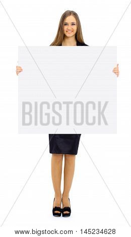 The beautiful business woman on a white background