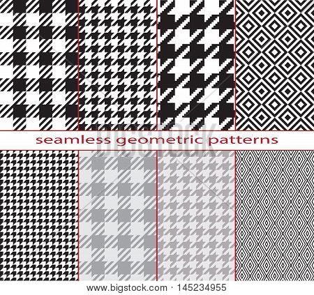 Set of seamless geometric black and white patterns, houndstooth, diamond, checkerboard. Pattern swatches are included in vector file.