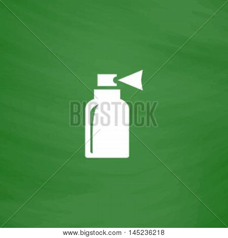 Spray. Flat Icon. Imitation draw with white chalk on green chalkboard. Flat Pictogram and School board background. Vector illustration symbol