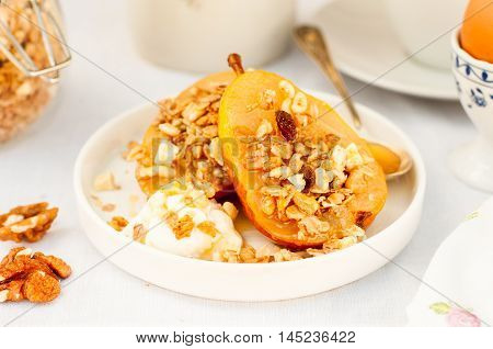 Honey Roast Pears With Granola And Yogurt