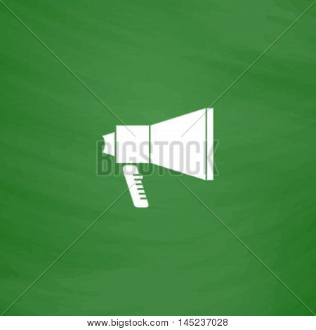 Mouthpiece. Flat Icon. Imitation draw with white chalk on green chalkboard. Flat Pictogram and School board background. Vector illustration symbol
