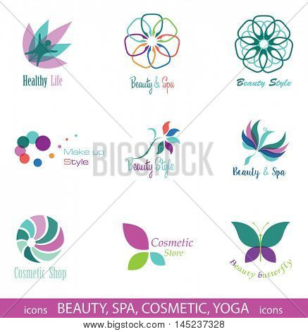 Set of  Icons and Symbols for Beauty, Spa, Cosmetic, Yoga, Nature. Design Elements isolated on White Background.