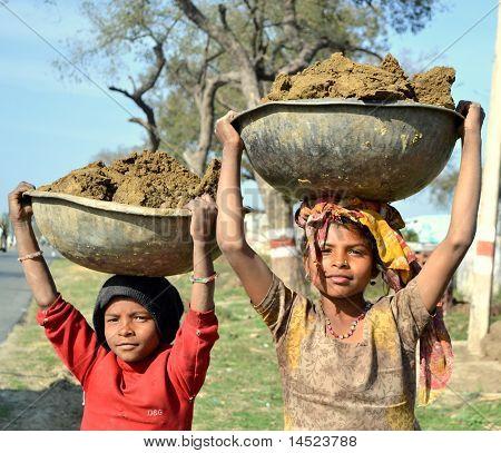 Poor Indian girls child labor
