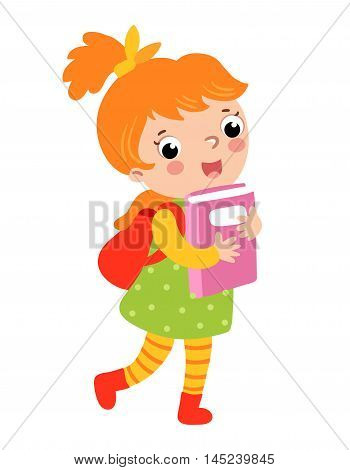 Cute girl go to school. Vector illustration of a girl on a white background. A schoolgirl walks to school. poster