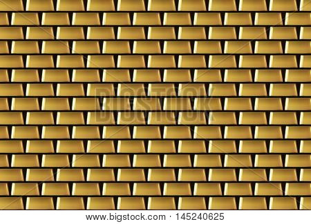 Wall of many gold bars background. Vector