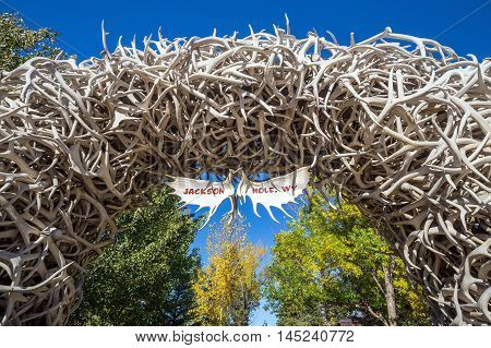 Large Elk Antler Arches Curve Over Jackson Hole, Wyoming