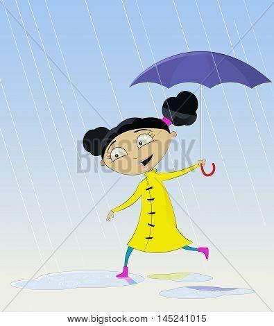 Cartoon girl with umbrella under rain. Vector illustration