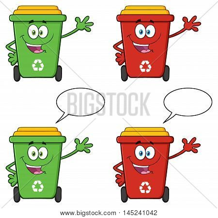 Recycle Bin Cartoon Character 3. Collection Set Isolated On White Background