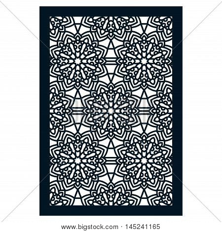Square Pattern panel for laser cutting with mandalas. Kirigami filigree pattern frame. For wedding invitation envelope baby shower postcards. Suitable for printing engraving metal wood.