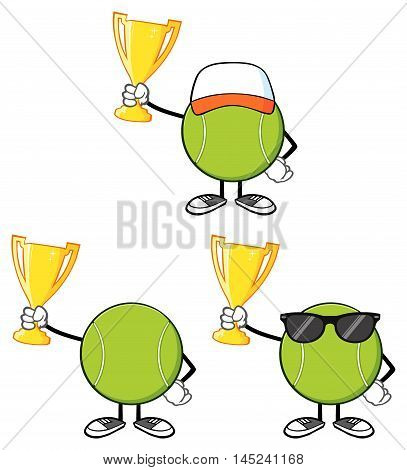 Tennis Ball Faceless Cartoon Mascot Character 7. Collection Set Isolated On White Background