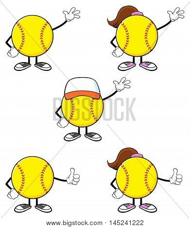 Softball Faceless Player Cartoon Character 1. Collection Set Isolated On White Background