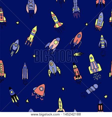 Seamless pattern with hand drawn rockets. Vector illustration for outer space ship spacecraft satellite comet in cartoon style in bright color for children