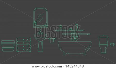 The interior of the shower room. Elements for bathroom interior. Bathroom interior vector. Bathroom interior outline.