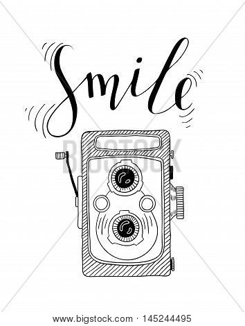 Photo camera with lettering - Smile. Vector hand drawn illustration.