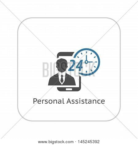 Personal Assistance Icon. Flat Design. Security Concept with a man and a mobile phone. Isolated Illustration. App Symbol or UI element.