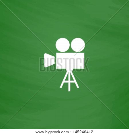 Video film camera. Flat Icon. Imitation draw with white chalk on green chalkboard. Flat Pictogram and School board background. Vector illustration symbol