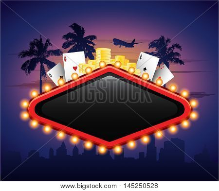 Casinon vintage banner sign with cards chips and palm tree