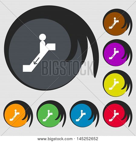 Escalator Down Icon Sign. Symbols On Eight Colored Buttons. Vector