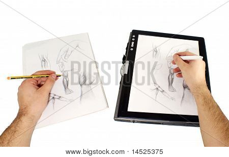 Two hands drawing, one on usual paper describing traditional way and other with stylus on tablet pc. poster
